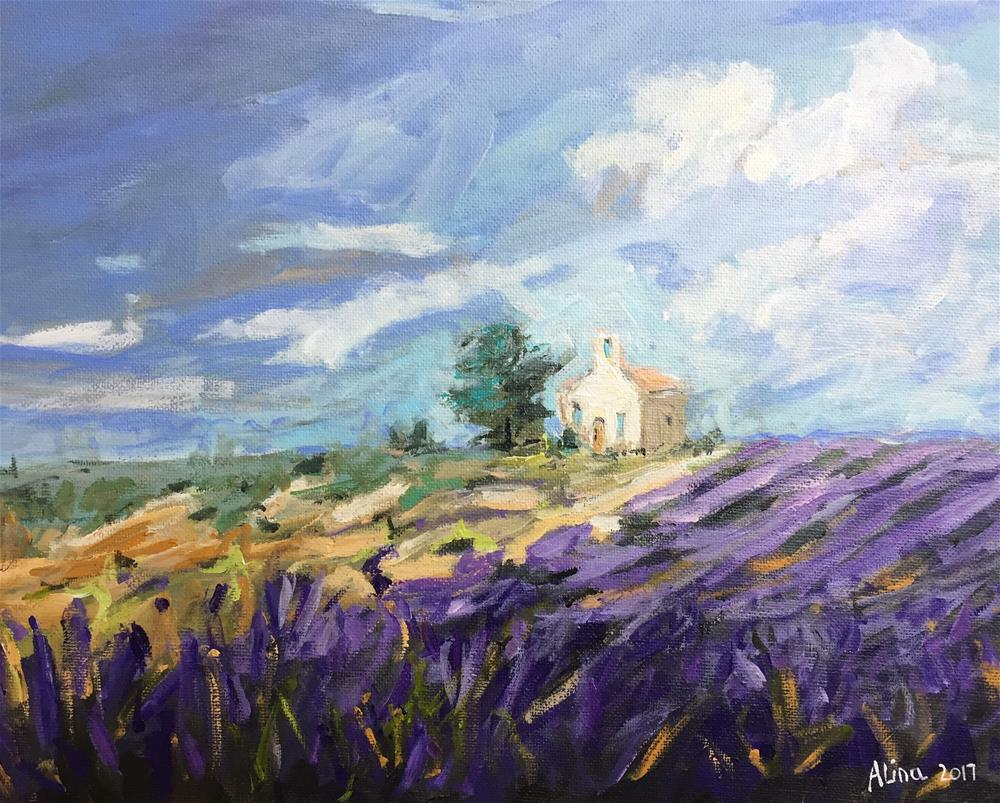"""Lavender Farm in Provence"" original fine art by Alina Vidulescu"