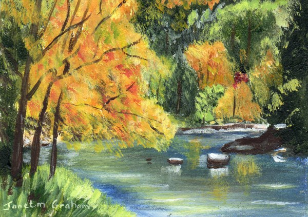 """""""Fall River ACEO"""" original fine art by Janet Graham"""