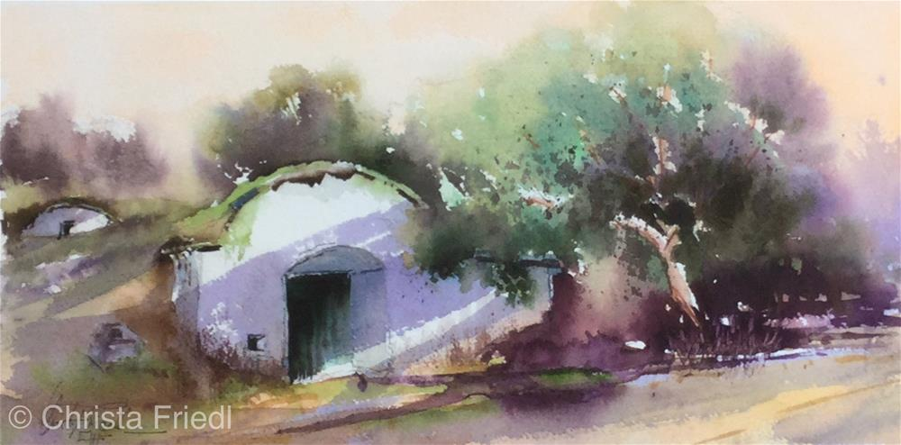 """Wine Cellar Lower Austria"" original fine art by Christa Friedl"