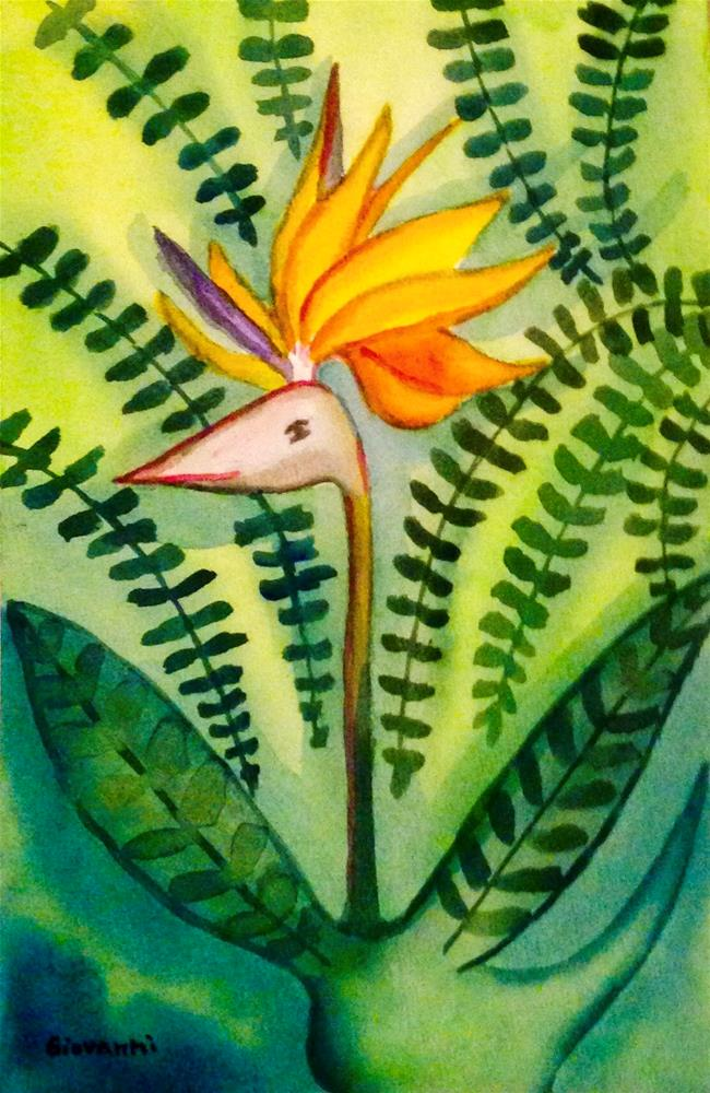 """Bird of paradise in the form of a bird"" original fine art by Giovanni Antunez"