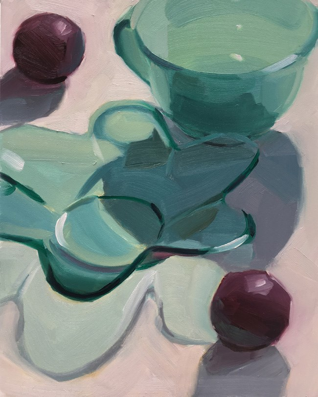 """Green Glasses and Plums"" original fine art by Robin Rosenthal"