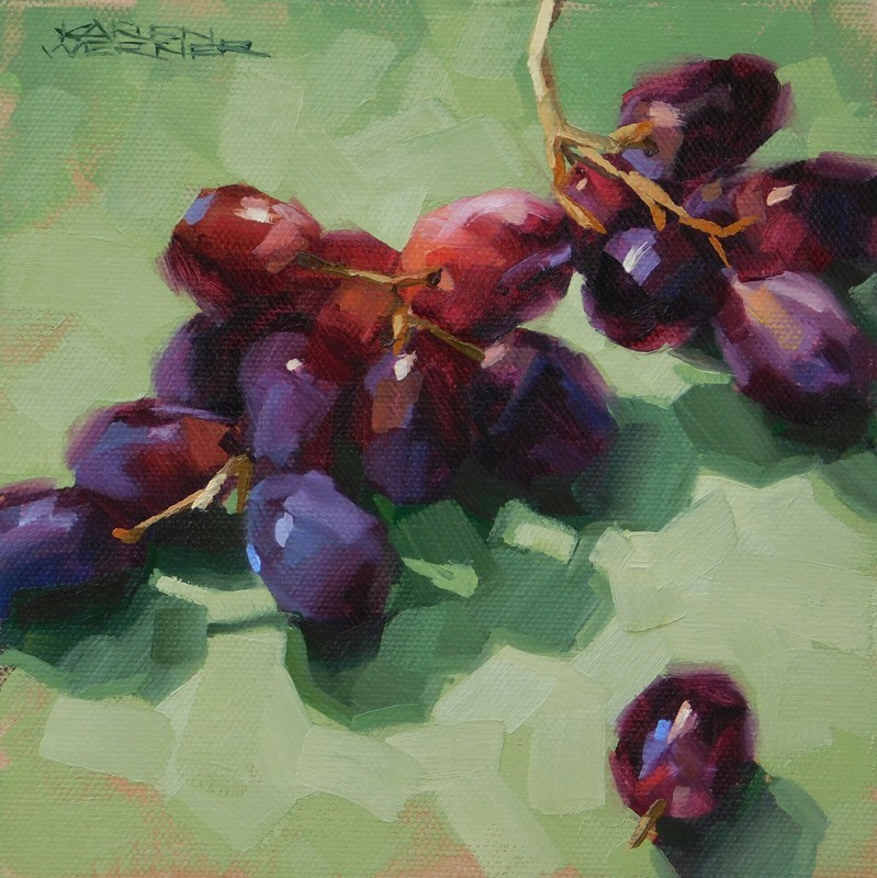 """Grapes On Green"" original fine art by Karen Werner"