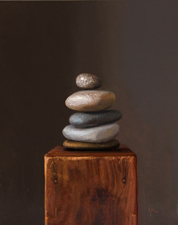 """Still Life with Stacked Stones (Cairn) (larger painting)"" original fine art by Abbey Ryan"