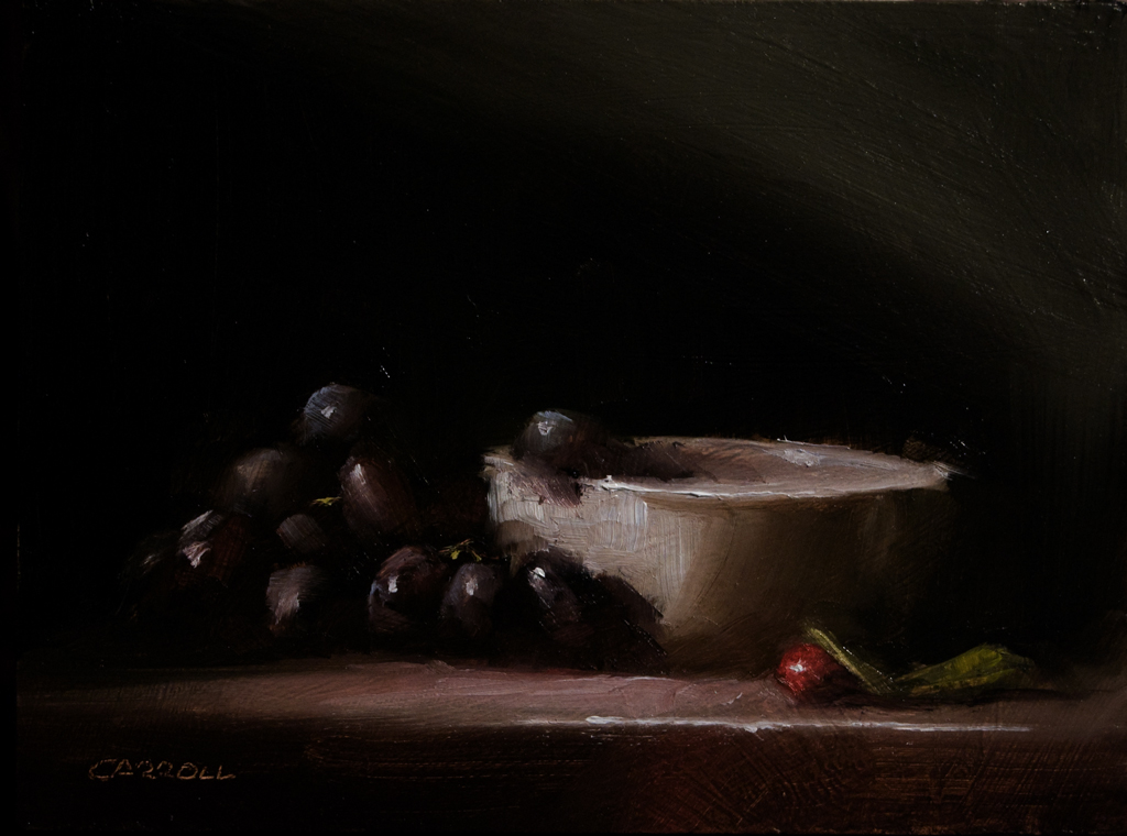 """""""White Bowl with Grapes"""" original fine art by Neil Carroll"""