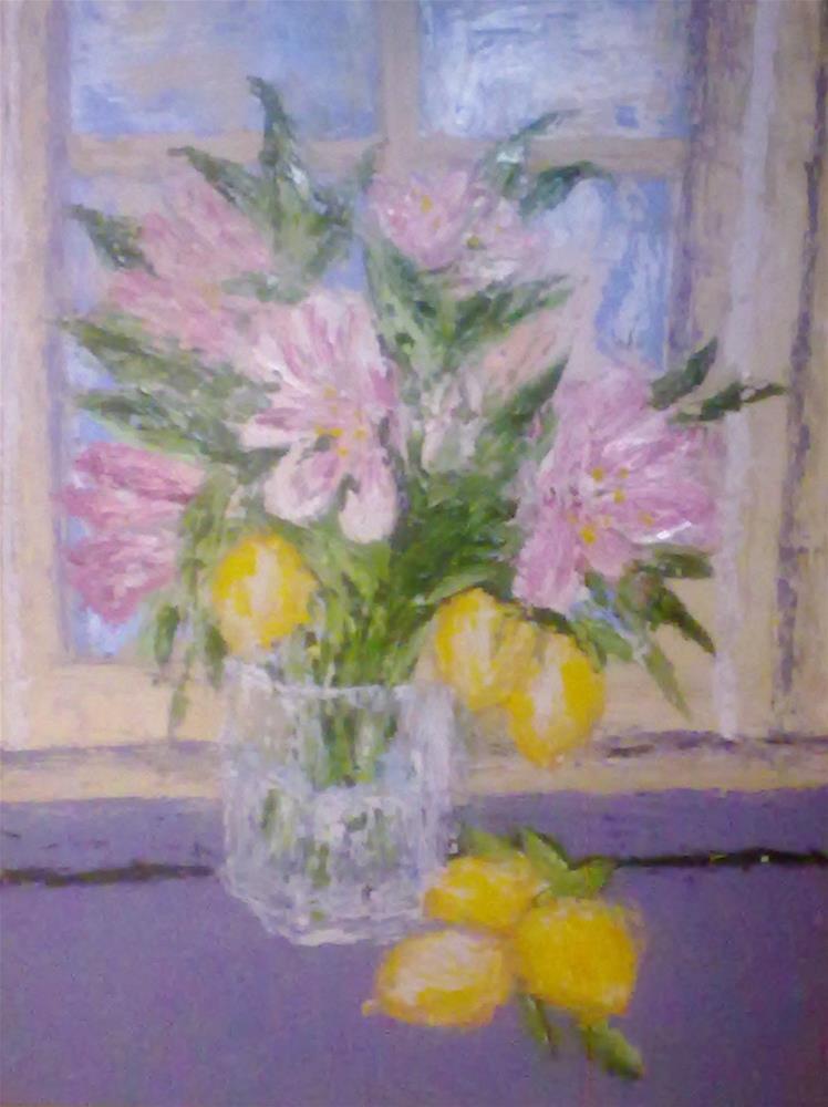 """""""Pink Lilllies and Lemons"""" original fine art by Jules Fine Art Gallery"""