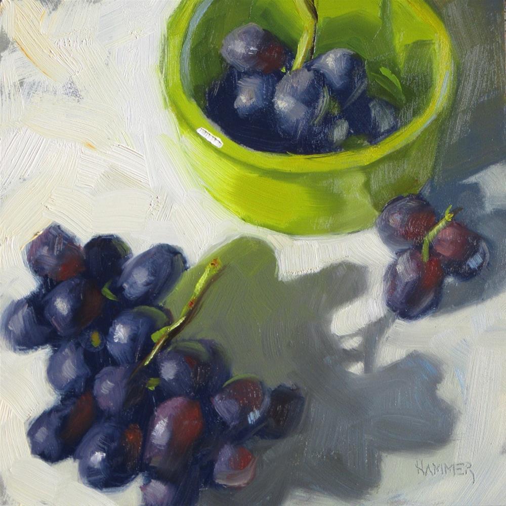 """""""Grape clusters  6 x 6  Oil"""" original fine art by Claudia Hammer"""