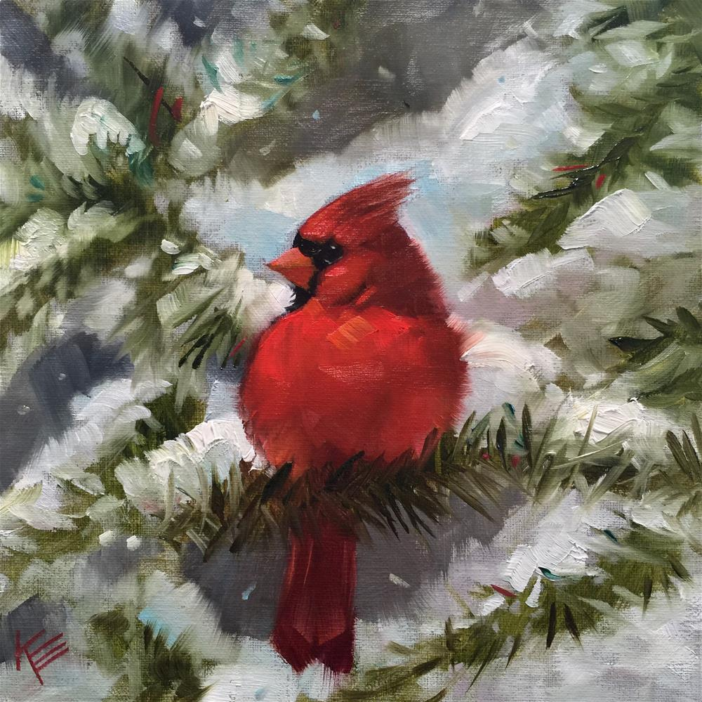 """""""A Cardinal Carol"""" original fine art by Krista Eaton"""