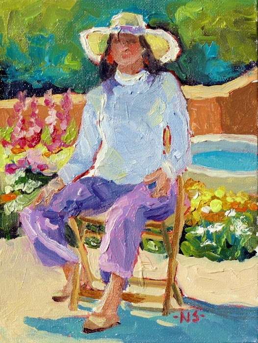 """""""Seated Figure with Hollyhocks 12047 SOLD (with 3 gold leaf frame)"""" original fine art by Nancy Standlee"""