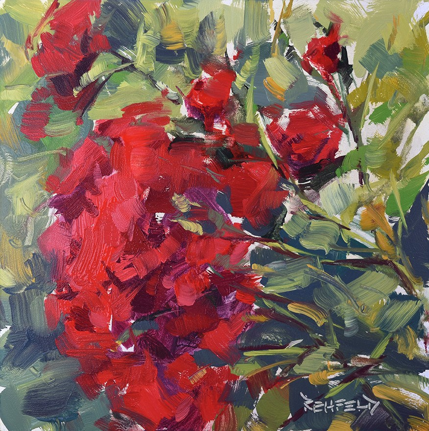 """Rainy Day Roses"" original fine art by Cathleen Rehfeld"