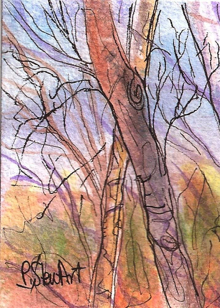 """""""ACEO - Naked Fall Trees, Watercolor and Pen, Loose Illustration Style, Original"""" original fine art by Penny Lee StewArt"""