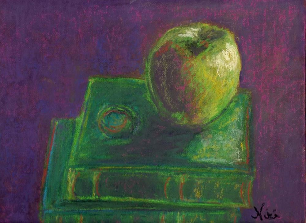 """Apple and Books"" original fine art by Niki Hilsabeck"