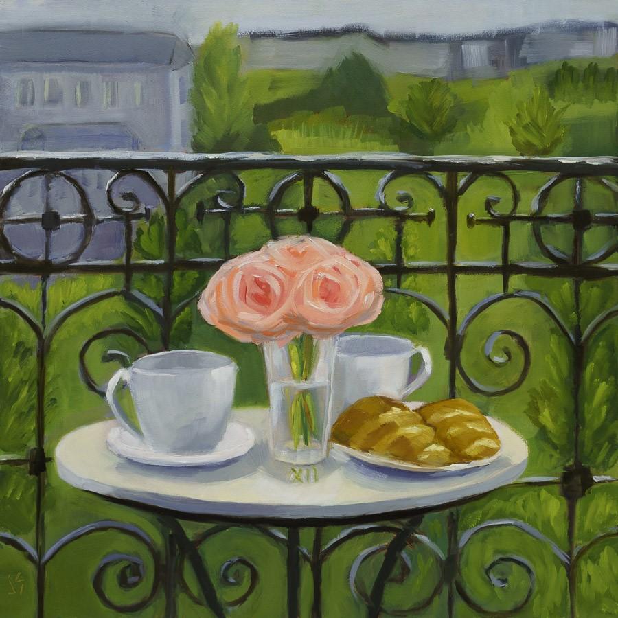 """Grand Parisian Balcony (12x12)"" original fine art by Johnna Schelling"