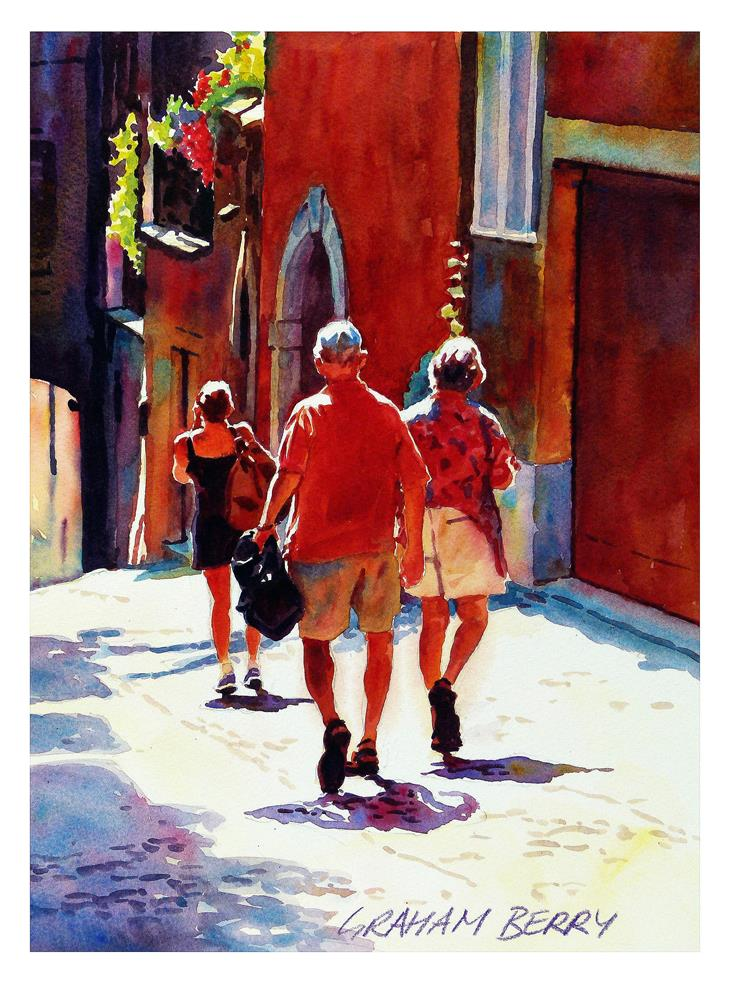 """""""Walking down the the hill."""" original fine art by Graham Berry"""