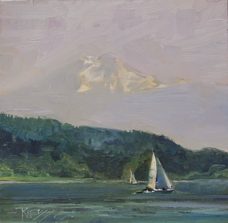 """Sailing Day on Elliott Bay  Marine landscape painting by Robin Weiss"" original fine art by Robin Weiss"