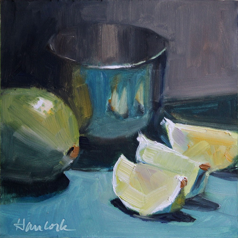 """""""Lime, Lime Slices and Silver Bowl"""" original fine art by Gretchen Hancock"""