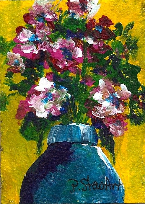 """""""ACEO:  Blue Jar with Pink Flowers, Yellow background, Acrylic, Original Art"""" original fine art by Penny Lee StewArt"""