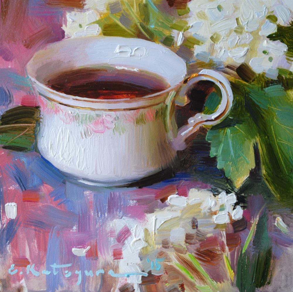 """Cup of Tea and Flowers"" original fine art by Elena Katsyura"