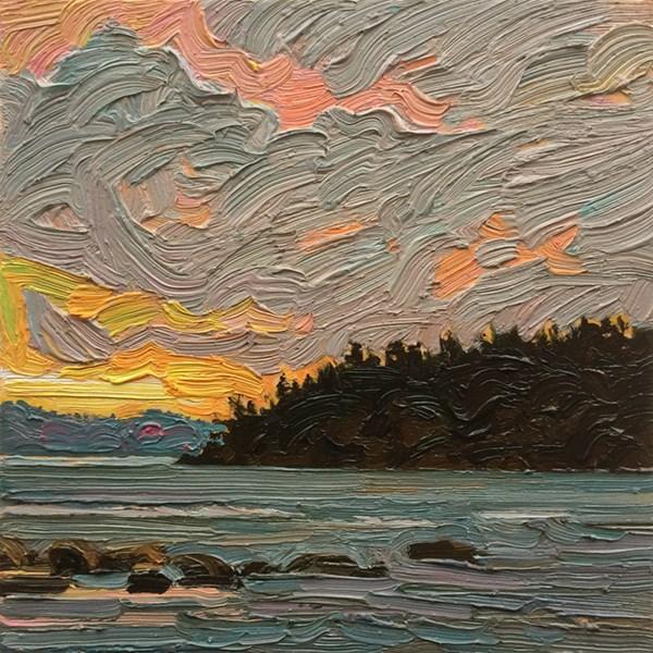 """Evening Seascape:  6x6  oil on panel"" original fine art by Ken Faulks"