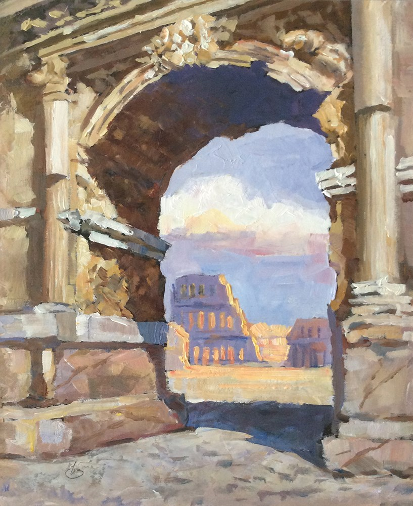 """""""THE ROMAN COLOSSEUM SEEN THROUGH THE ARCH OF TITUS"""" original fine art by Tom Brown"""