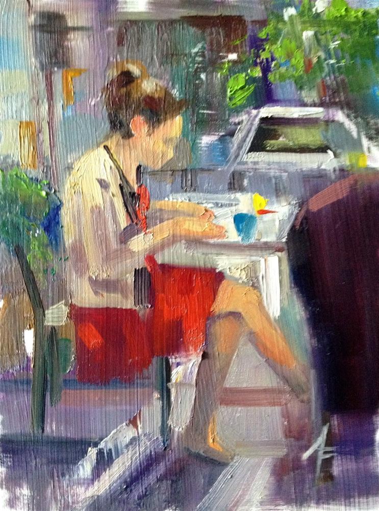 """""""Breakfast in Montreal, 6x8"""" original fine art by Ann Feldman"""