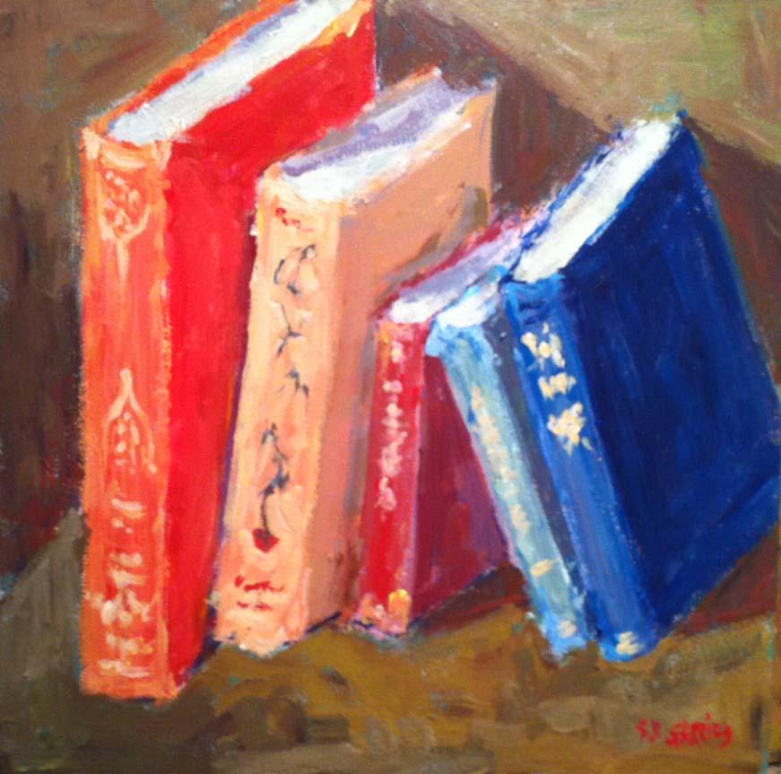 """old books again"" original fine art by Shelley Garries"