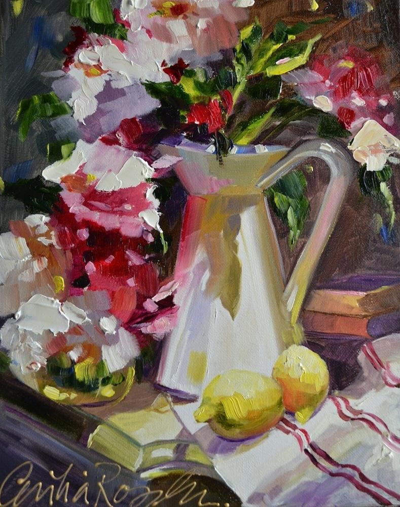 """Peonies in French Pitcher"" original fine art by Cecilia Rosslee"