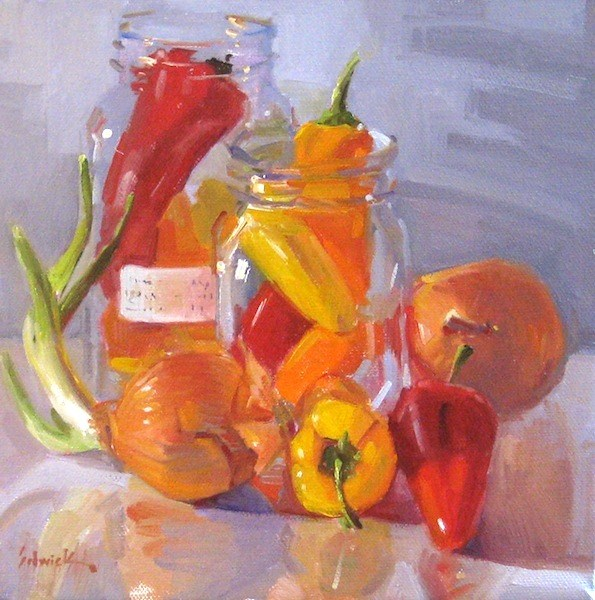 """""""Peppers and Onions vegetable food kitchen decor oil painting still life"""" original fine art by Sarah Sedwick"""