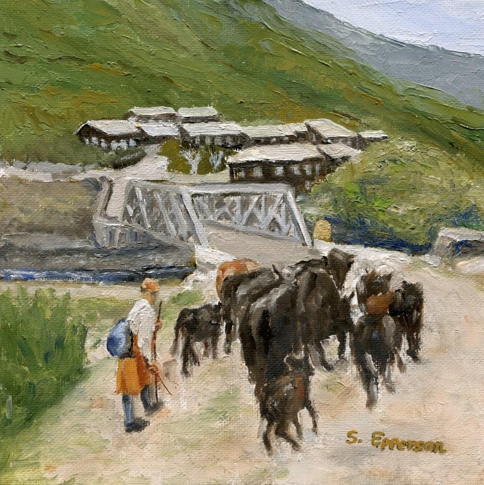 """Cowboy of Bhutan"" original fine art by Stanley Epperson"