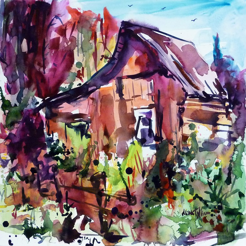 """The House on the edge of the forest"" original fine art by Mikko Tyllinen"