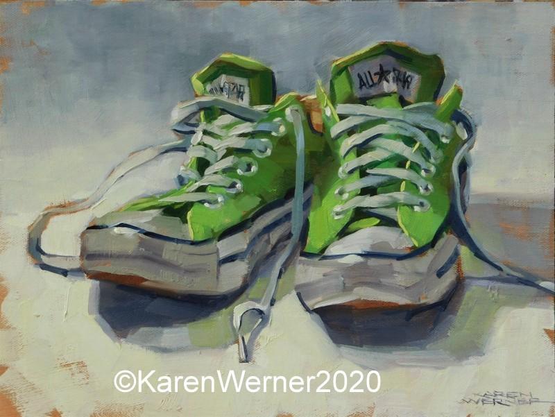 """""""Pistachio Pair"""" original fine art by Karen Werner"""