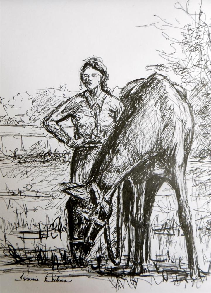 """Girl with Horse - sketch"" original fine art by Tammie Dickerson"