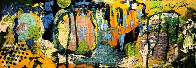 """Blue Lemonade Original Modern Contemporary Mixed Media Abstract Painting Art by Lisa Kreymborg"" original fine art by Lisa Kreymborg"