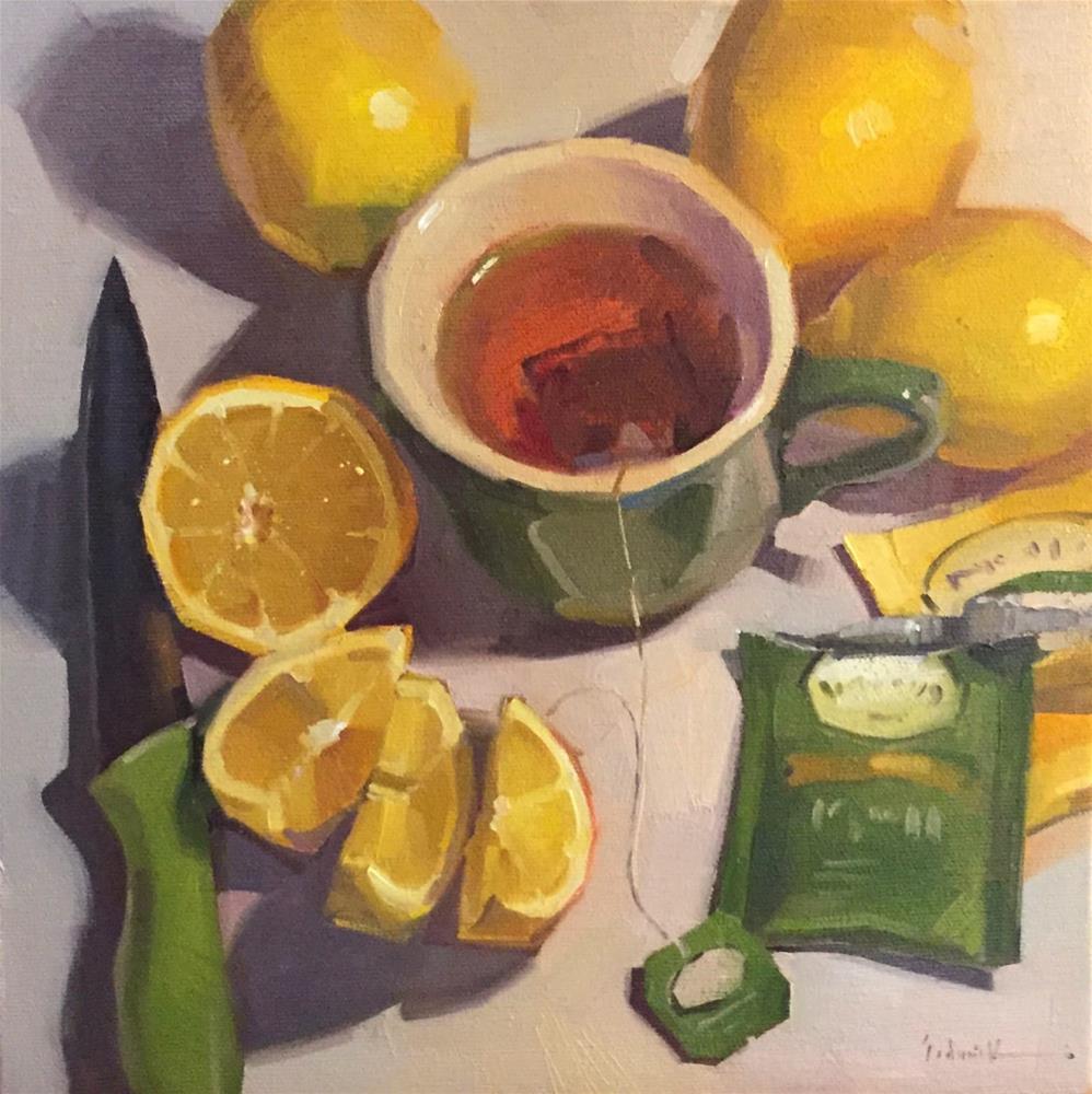 """Green Tea with Lemon"" original fine art by Sarah Sedwick"