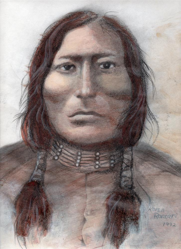 """Sioux Man"" original fine art by Karen Roncari"