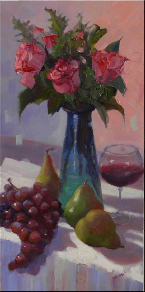 """""""Days of Wine and Roses, 10x20, oil on linen, wine roses, pears, grapes, floral"""" original fine art by Maryanne Jacobsen"""