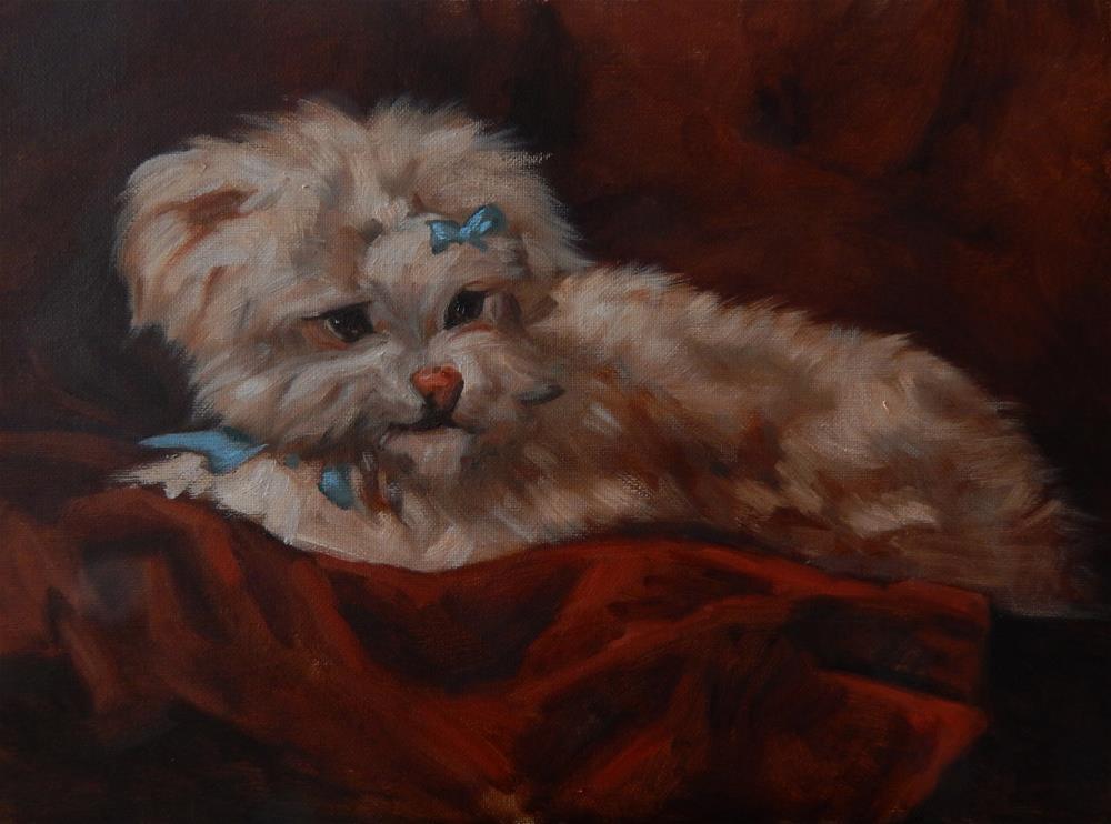 """Copy, White Dog by Henriette Ronner-Knip"" original fine art by Megan Schembre"
