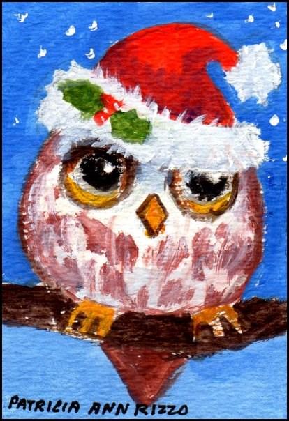 """""""Christmas Baby Owl"""" original fine art by Patricia Ann Rizzo"""