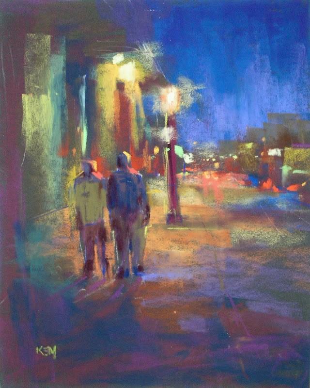 """Painting Lights at Night ...My Favorite Resource"" original fine art by Karen Margulis"