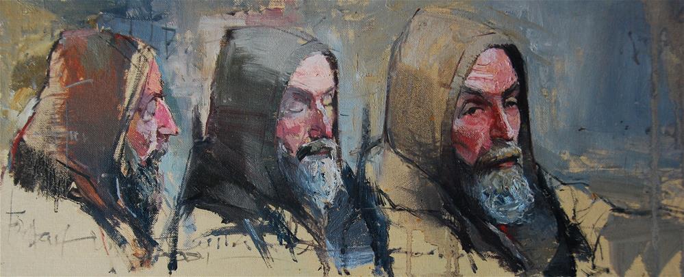 """""""The face of Homelessness, London Bridge Trio"""" original fine art by Adebanji Alade"""