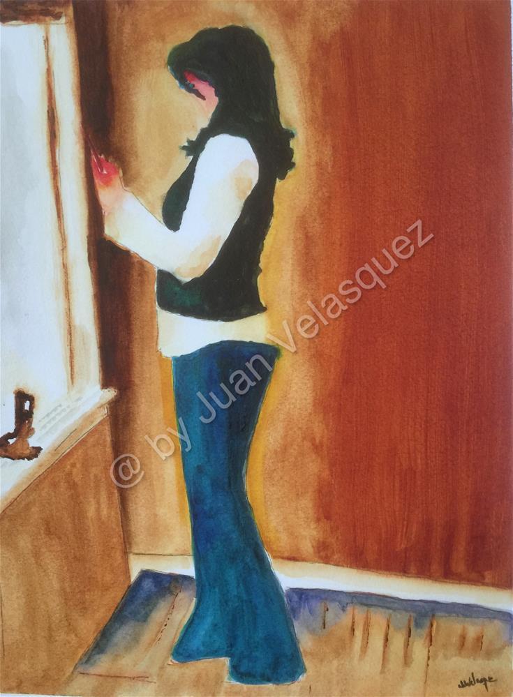 """Lady on Window"" original fine art by Juan Velasquez"
