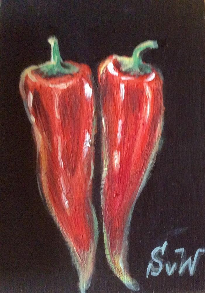 """Chilli peppers"" original fine art by Sonia von Walter"