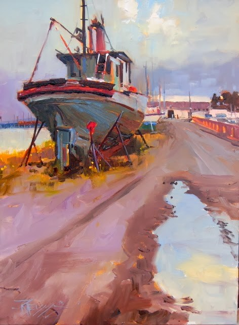 """""""High and Dry Port Angeles, plein air, marinescape, oil painting by Robin Weiss"""" original fine art by Robin Weiss"""