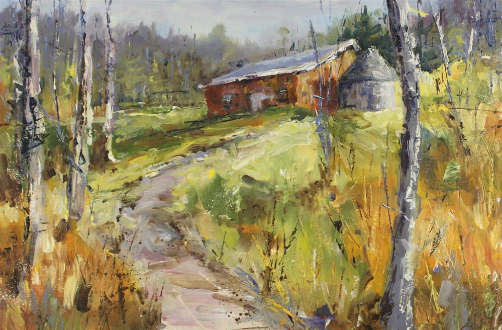 """Red Shed Original Landscape Oil Painting"" original fine art by Alice Harpel"