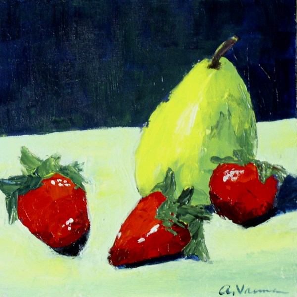 """Pear and Berries"" original fine art by Anna Vreman"
