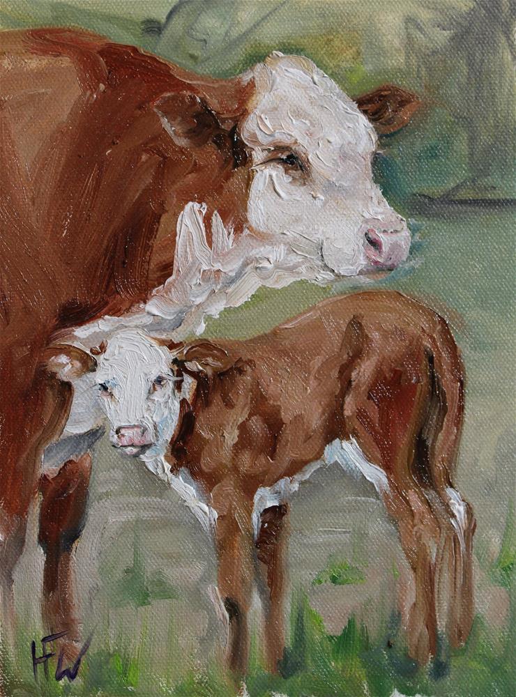 """Hereford Calf"" original fine art by H.F. Wallen"