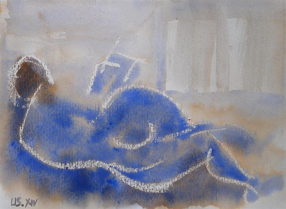 """woman, reclining, reading"" original fine art by Ulrike Schmidt"