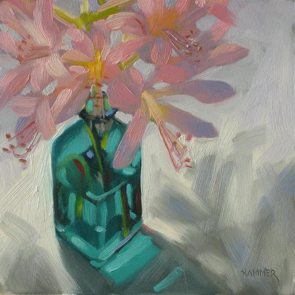 """Naked Ladies! 6x6 oil"" original fine art by Claudia Hammer"