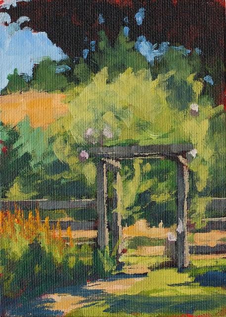 """""""Back Field Fruit Trees"""" original fine art by J. Farnsworth"""