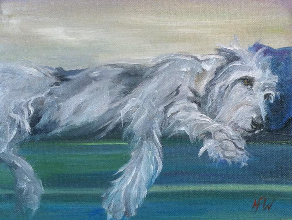 """""""Wolfhound and his Pillow"""" original fine art by H.F. Wallen"""