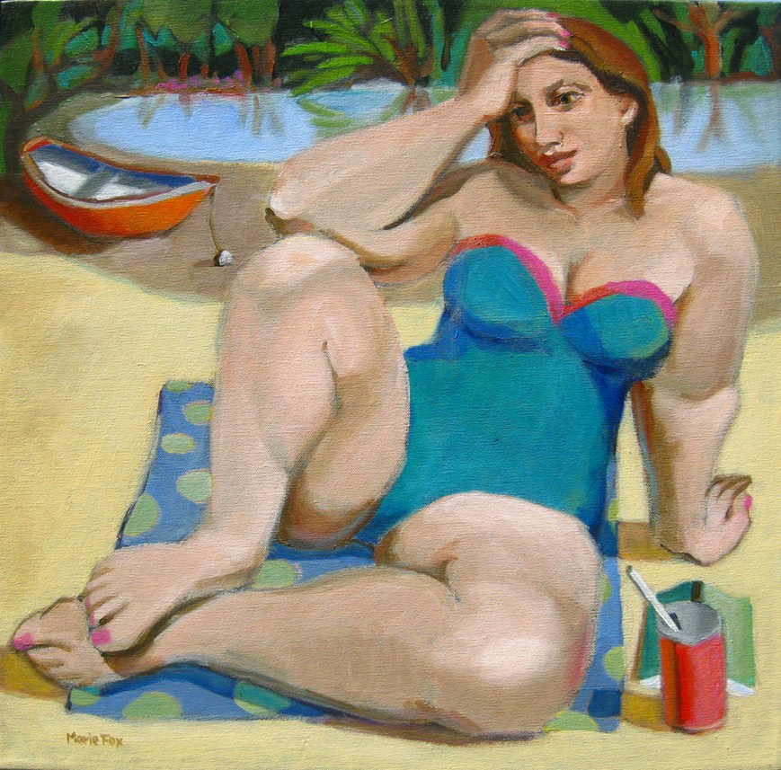 """woman on beach, contemporary figure painter, modern figurative art, female figure, figuration, rowbo"" original fine art by Marie Fox"